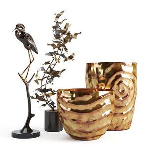 decorative set vase sculpture 3D