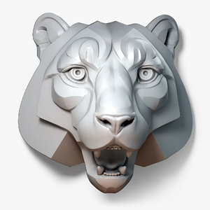 stylized tiger animal sculpture 3D