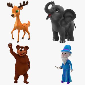 3D cartoon rigged characters model