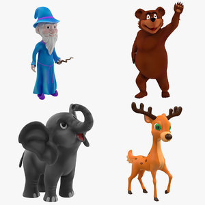 cartoon rigged characters 3D model