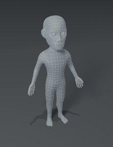 male body cartoon base mesh 3D model