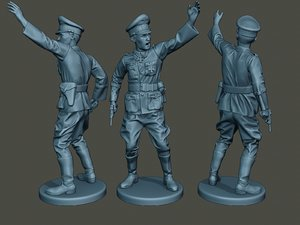 3D german officer ww2 war model
