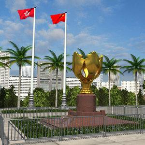 hong kong golden bauhinia 3D model