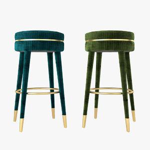 3D eichholtz bar stool parisian model