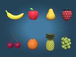 cartoon fruits 3D model