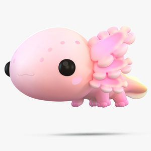 3D model cute cartoon axolotl