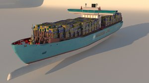 3D container ship emma maersk model