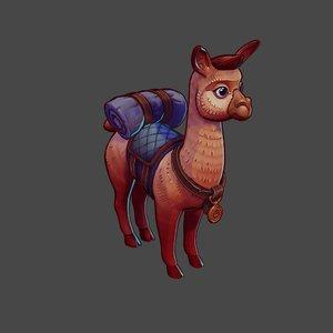 3D model alpaca games cartoon