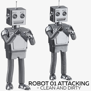 3D robot 01 attacking - model