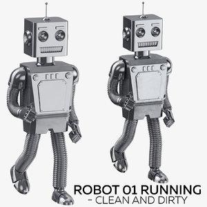 robot 01 running - 3D model