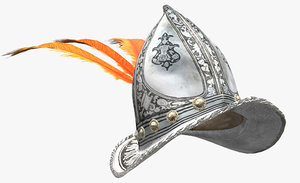 3D model italian morion orange feather