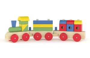 wooden toy train 3D model