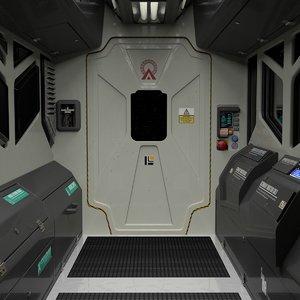 interior spaceship corridor right 3D