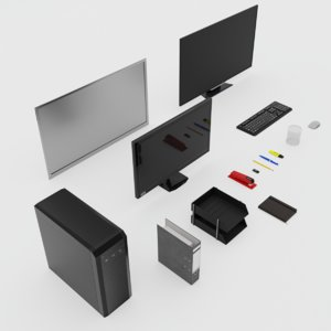 3D model office accessories