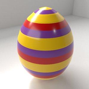 3D model striped easter egg