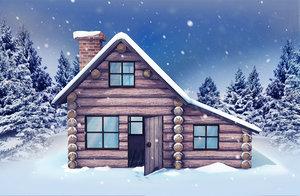 3D model stylized winter log cabin