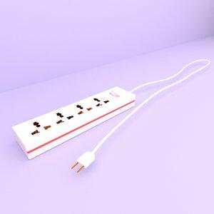 power strip plug 3D model