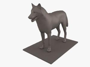 3D animals mammal gray wolf model