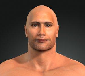 man character dwayne johnson 3D