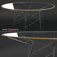 WHISK GLASS TOP DINING TABLE ROUND 180