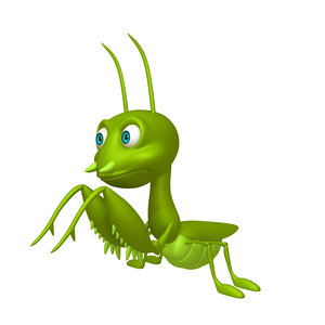 3D model prayer mantis cartoon