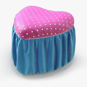 pouf pink blue glitter 3D model