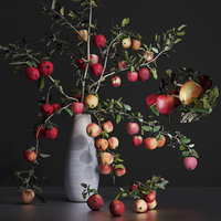 Cherry tomato Red apple branches Dried leaves bouquet Vase