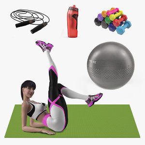girl fitness equipment 3D model