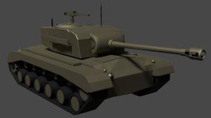 3D simple tank m26 model