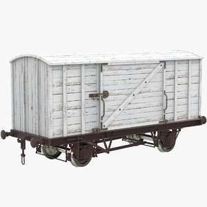 3D wooden container wagon model
