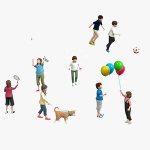 boy football balloon dog 3D model