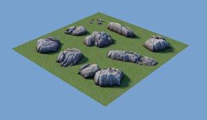 pack rocks 3D model