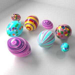 easter egg multi colour 3D model