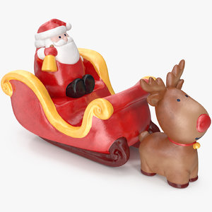 3D santa claus sleigh decorative model