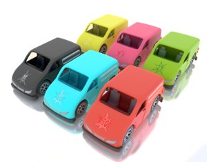 3D cartoon toy van model