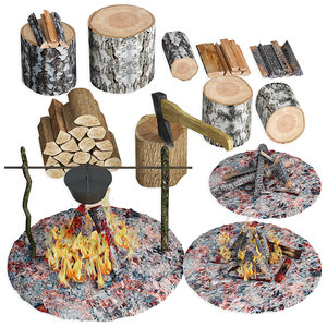 bonfire firewood set 3D model