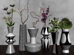 3D plant sets vases model