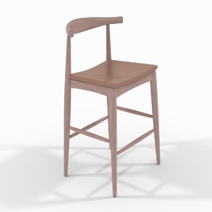 carl hansen elbow stool 3D