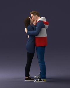 3D kiss couple model