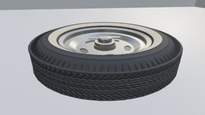 3D firestone tire whitewall hot rod model