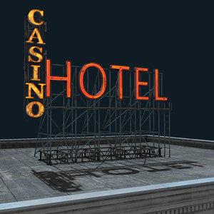 3D model rooftop neon signs