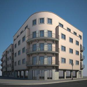 3D model urban apartment building
