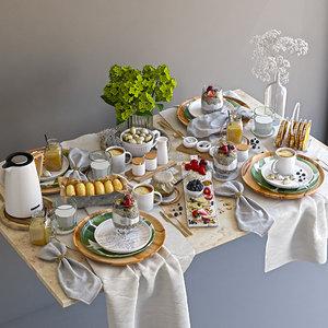 flowers breakfast 3D model