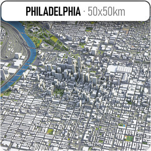 3D city philadelphia surrounding area