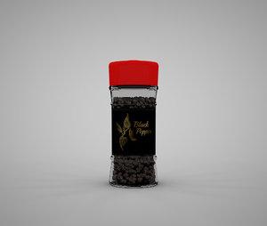 jar black pepper grains 3D model
