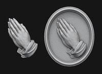 Praying Hands Medallion 3D print model
