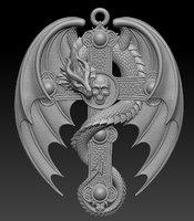 Dragon Cross Relief 3D print model