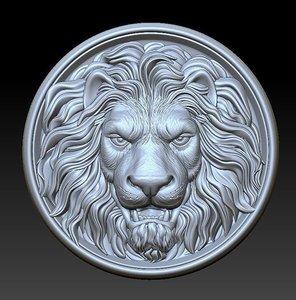 3D model lion head medallion