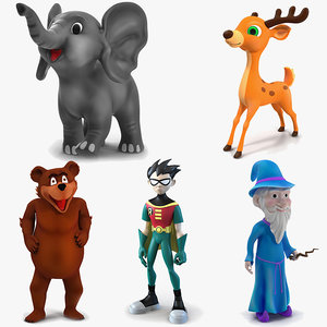cartoon rigged characters 2 3D model