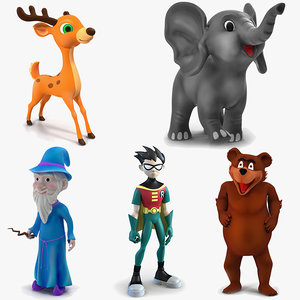 3D cartoon rigged characters 2 model